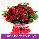 Valentines Day  flower bouquet of red roses