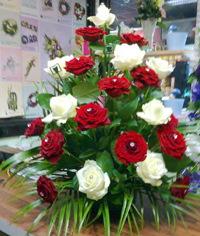Red & White roses by Glasnevin florist - Flowers by Rita