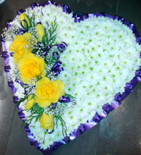 Heart-shaped wreath for dulin 11 funeral