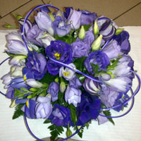 Mauve & blue flower display