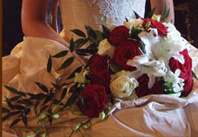 Bride's bouquet of red and white roses